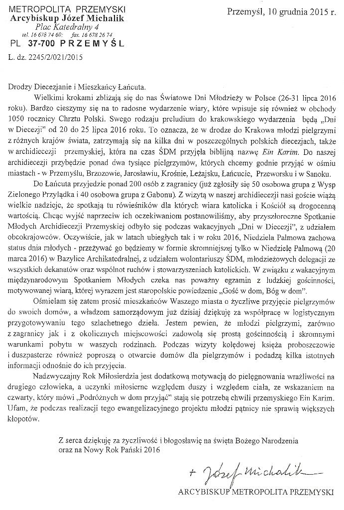 Komunikat ks. abpa Michalika